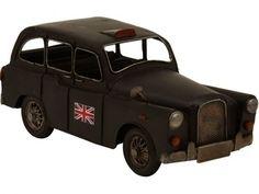 """Miniatura de Carro Táxi Inglês """"Austin FX4"""" em Metal 27cm"""