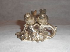 Vintage Silver Plate/Pewter with 2 Birds on Rose Salt & Pepper Shakers