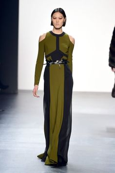 A model walks the runway wearing Bibhu Mohapatra Fall 2016 during New York Fashion Week: The Shows at The Dock, Skylight at Moynihan Station on February 17, 2016 in New York City. Photo: Frazer Harrison, Getty Images For NYFW: The Shows