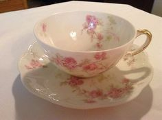 Antique Fine China Haviland Limoges France tea / coffee Cup and saucer Roses (09/07/2013)