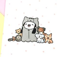 Spooky Pusheen Girl with her furry squad  I made this doodle for one of my lovely Spooky Kickstarter backers  Heads up! Spooky Plushies will be coming to shopkirakira.com very soon  so stay tuned ✨ Happy weekend everybody ☺️ • • #kawaii #spookymccute #pusheen #doodle #cats #kitties #hedgie #doodling #かわいい #可愛い  #copicmarkers