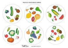 dobble-fruits et légumes-anglais-apprendre l'anglais Winter Fun, Art For Kids, Tableware, English, Expressions, Club, Games, Speech Language Therapy, English Language