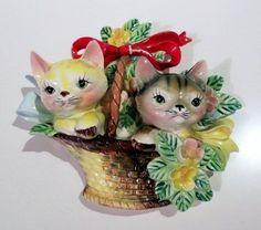 New Price Vintage Kittens in Flower Basket Wall by KitschKnack, $29.00