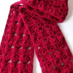 Cluster and Shells Scarf Free Crochet Pattern