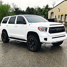 One of the last projects in the old shop! New address in bio 👌🏼 Toyota sequndra with 2018 LED Tundra headlights & fogs. Satin white wrap by . 2012 Toyota Tundra, Toyota Usa, Toyota Trucks, Toyota 4runner, Toyota Sequioa, Best Suv Cars, Drift Trike, Diesel Trucks, Big Trucks