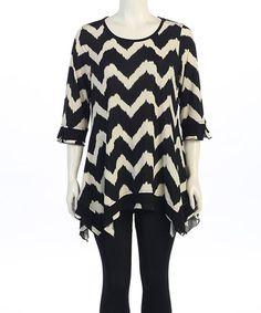 Look at this #zulilyfind! Black & Off-White Zigzag Handkerchief Tunic - Women & Plus #zulilyfinds
