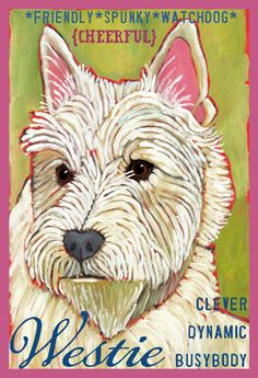 Puppy dog, Westie, Art, from ursula dodge design studio - $20.00 These prints are made from original oil paintings.  The image is approximately 5.5″ x 8.25″ on fine quality 8.5×11 art paper, packaged with a stiffener board in a clear sleeve.