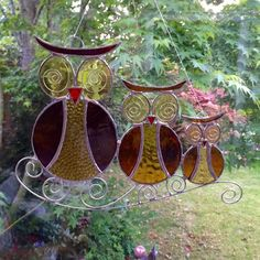 Stained Glass Owl Family Suncatcher