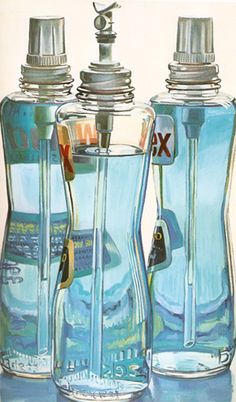Janet Fish, Windex Bottles, 1972. Excellent resource for studies of glass reflection and light through translucent objects or liquids.