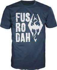 Boxshot: Skyrim Fus Ro Dah Blue Shirt - XL by Bio World Merchandising
