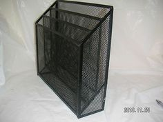 "WIRE MESH FILE PAPER TRAY with 3 Storage Slots/Tiers - Fits Paper/Files to SLOT Size:  12-3/8""  X 8-1/2""  - BLACK WIRE MESH DESK Drawer FILE Storage Organizer 3 Tier Compartment Paper TRAY [MsFrugaLady on eBay, 11/25/2013]"