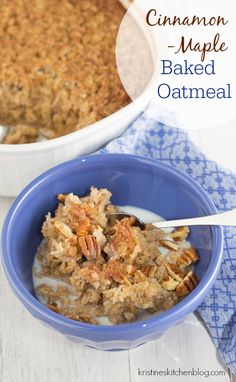 Cinnamon-Maple Baked Oatmeal. 5-minute prep, reheat from the fridge for quick breakfasts!