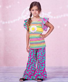 Take a look at the Fuchsia Stripe Angel-Sleeve Top & Pants - Infant, Toddler & Girls on #zulily today!
