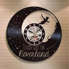 Peter Pan Wall Art Cartoon Art Birthday Gift For Kids Wall Clock Large Disney Art Vinyl Retro Record Wall Clock Peter Pan Clock Xmas Gift by LPdecorations on Etsy Vinyl Record Clock, Record Wall, Vinyl Records, Lp Vinyl, Peter Pan Decor, Clock Art, Wall Clocks, How To Make Wall Clock, Peter Pan Disney
