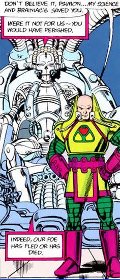 Crisis on Infinite Earths panel : luthor and brainiac