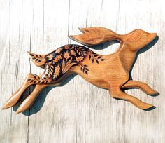 Carved Hare Wall Hanging Pyrography Wood by GlenoutherCrafts - Tonya to Allan