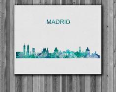 Madrid skyline watercolor poster Art Print by digitalaquamarine
