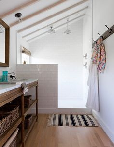 LONNY July/August 2013. Inspiration for the upstairs master bath / slanted ceiling.