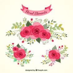 Desenhadas mão elementos florais                                                                                                                                                                                 Mais