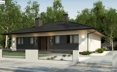 m²) Single-Family House, One-Storey With A Terrace In A Wooden Version Roof Design, House Design, My House Plans, One Story Homes, Spacious Living Room, Story House, Facade House, Interior Lighting, Cladding