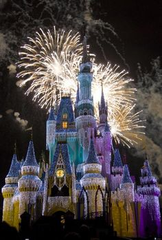 Cinderella Castle, covered with 200,000 tiny lights for the Christmas holidays - firewicks behind