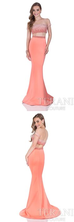 Terani Couture #twopiece #promdress with illusion pearl crop top. This #prom2016 #coraldress is finished with a neoprene mermaid skirt. Style: 1611P1354