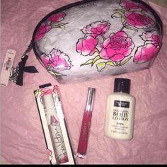 VS MAKEUP BAG & PERFUME Make up bag/vs new scent roller ball, vs lip gloss/ vs lotion Victoria's Secret Bags Cosmetic Bags & Cases