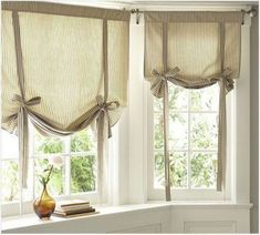 Find more ideas: Shabby Chic kitchen curtains Vintage kitchen curtains Country kitchen curtains Kitchen curtains with blinds Long rustic kitchen curtains # kitchen design # kitchen kitchens # window treatments. Tie Up Curtains, Small Window Curtains, Damask Curtains, Nursery Curtains, Curtains With Blinds, Neutral Curtains, Blinds Diy, Window Blinds, Window Shutters
