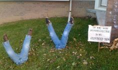 Recycle Your Kids' Jeans and Shoes for a Funny Halloween Trick