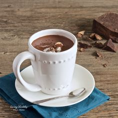 Healthy Homemade Hot Chocolate recipe! (Paleo, dairy-free). Rich, thick and creamy, with an intense dark chocolate flavor!! By #LivingHealthyWithChocolate