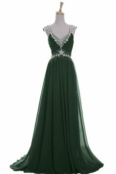 Emerald Evening Gown  This is gorgeous but it has a really long train which would be a problem on the dance floor at prom.