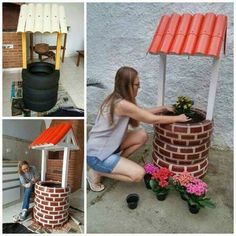 DIY Tire Wishing Well Planters, a unique way to recycle old tires for garden decoration DIY Tire Wishing Well Planters, a unique way to recycle old tires for garden decoration Tire Christmas Tree Tire Garden, Garden Yard Ideas, Garden Crafts, Diy Garden Decor, Garden Projects, Diy Planters, Garden Planters, Painted Brick Exteriors, Tyres Recycle