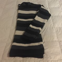 Crew Neck Sweater Black, grey, and crime striped sweater. Mild normal wear pilling as shown in 2nd photo. Sweaters Crew & Scoop Necks