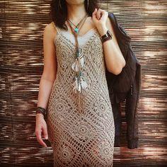 вязаное платье крючком из мотивов