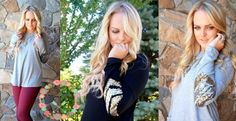 They're Back! Sequin Chevron Elbow Top - Small to XL!