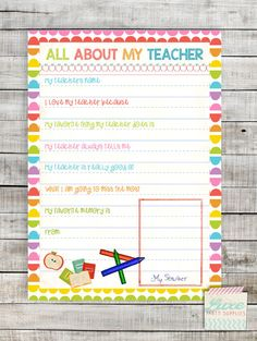 INSTANT DOWNLOAD Printable Teacher appreciation gift All About My Teacher Questionnaire Draw My Teacher by LuxePartySupply on Etsy