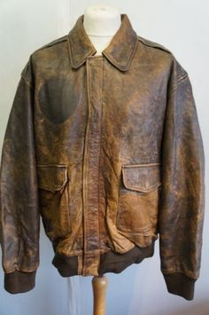 eeadd74b5a3 Vintage Distressed Brown Leather Bomber Jacket Lined with World Map ...