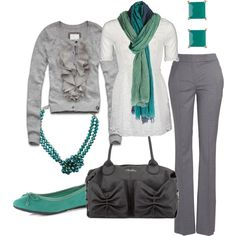 Work wear, grey pants, white shirt, grey cardigan and splash of color scarf & accessories