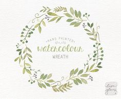 Watercolor wreath: painted floral wreath clipart / Wedding invitation clip art…