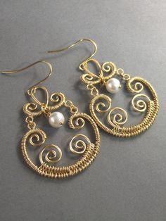 Marrakesh, Gold Earrings,Pearl Earrings,Bohemian, Gypsy,Freshwater Pearl. Handmade jewelery by Valleygirldesigns.. $35.00, via Etsy.