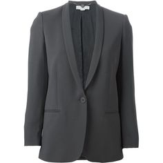 Stella McCartney Mattea Blazer ($1,700) ❤ liked on Polyvore featuring outerwear, jackets, blazers, grey, gray blazer, shawl jacket, long sleeve shawl, gray jacket and stella mccartney jacket
