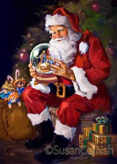 Santa understands the reason for the season. :) Susan Comish Christmas Art Gallery   Quality Prints & Original Artwork
