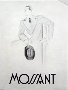 Mossant Hats vintage advertising poster, men fashion original art deco ad, 1930 old magazine ad, French illustration print, collectible ad by OldMag on Etsy