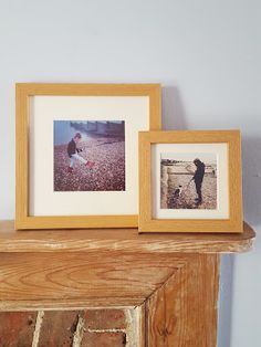 Our Open grain instagram photo frames work really well with beach photos. I love these photos of my daughter and my partner and dog and think they work so well in the oak frames #photoframes #photo #frames #gallerywall #Fathersday #woodenfram