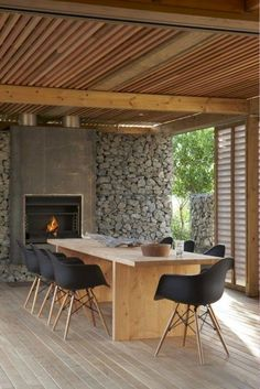 Best Ideas For Modern House Design & Architecture : – Picture : – Description Modern Home Design by the Urbanist Lab Outdoor Rooms, Outdoor Dining, Dining Area, Indoor Outdoor, Dining Table, Rustic Outdoor, Rustic Table, Outdoor Stone, Outdoor Kitchens