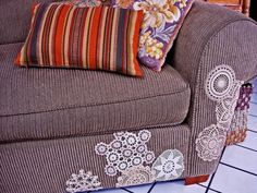 Repurposing: Doily re-do's. Most of these I've seen some version of, but the couch is great. Using them to cover cat scratches, stains, etc. is kinda genius.