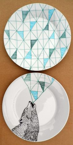 Howling Wolf Geometric Design Plates hand by PerDozenDesign