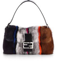 Fendi Striped Mink Baguette Shoulder Bag - Lyst Le Baguette 14dbedcdf3643
