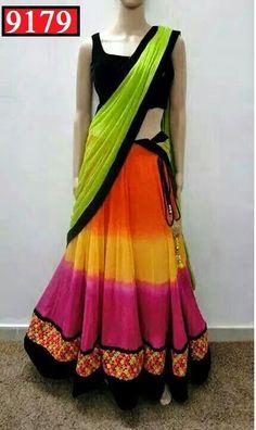 Designer Orange and Pink colourful Georgette Lehenga
