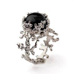 CORAL Black Onyx Ring, Sterling Silver Onyx Ring by AroshaTaglia